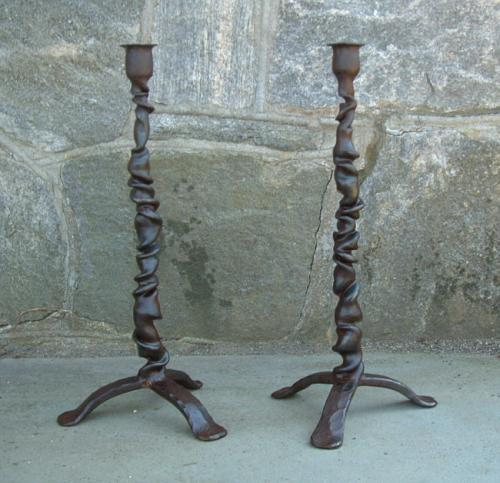 Ian Kats modern hand forged Iron candlesticks