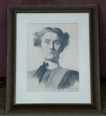 Image of Jennie Burr Antique Portrait Pencil Drawing signed