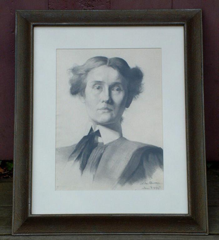 Jennie Burr Antique Portrait Pencil Drawing signed