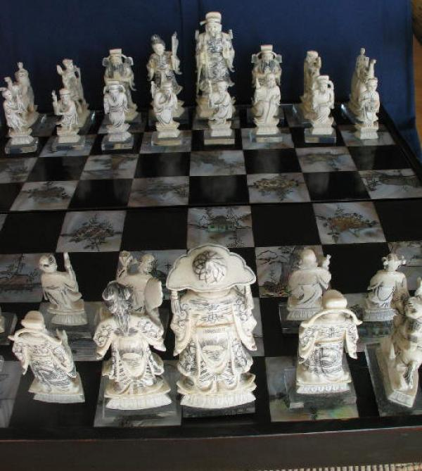 Antique Chinese Ivory Chess Set