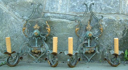 Italian Wrought Iron Electrified Wall Sconces circa 1950