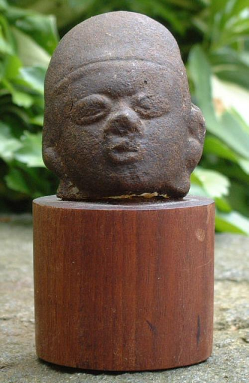 Antique Pre-Columbian Hand Carved Stone Head