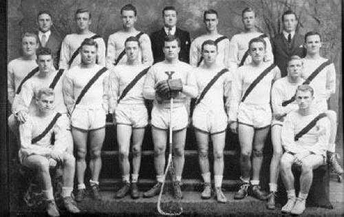 Vintage photograph of Yale Lacrosse team with stix c1934