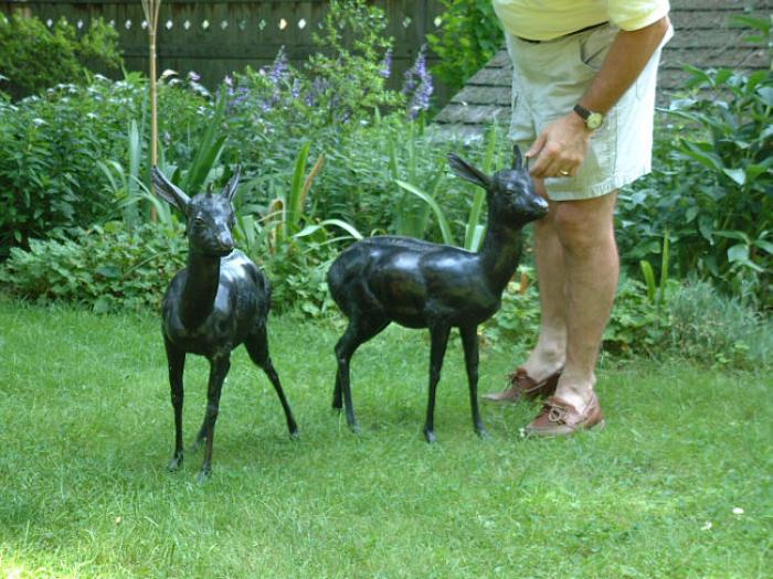 Antique French bronze pair of fawns
