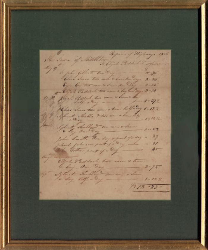 Antique Receipt dates 1826 Middletown Connecticut