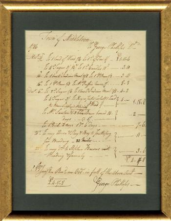 Image of Antique Document Middletown Connecticut dates from 1786