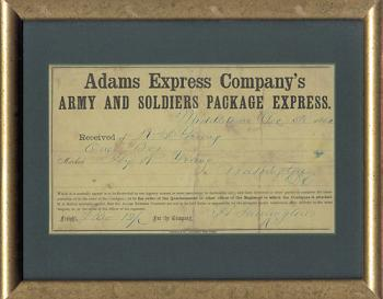 Image of Antique Civil War Document for Package Express