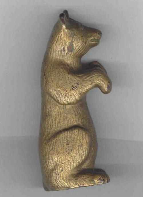 Antique Bear still penny bank cast iron