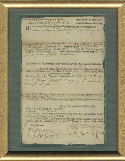 Antique Ephemera Legal Document 1788