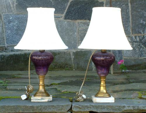 price my item value of antique blown amethyst oil lamps electrified. Black Bedroom Furniture Sets. Home Design Ideas
