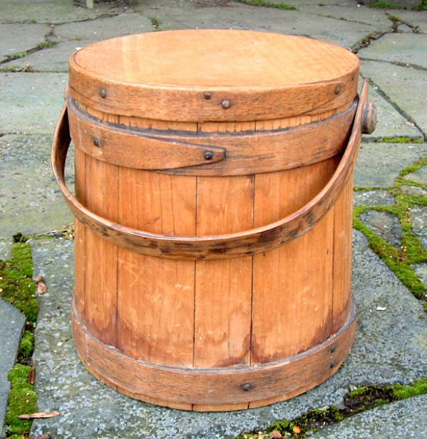 Price my item value of antique wood firkin c wilder and sons for Price of reclaimed barn wood