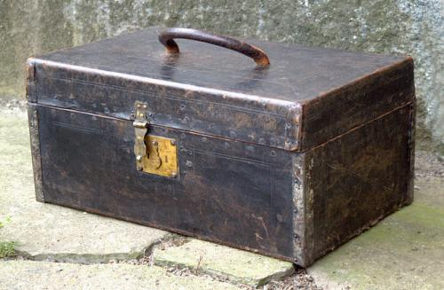 Antique American country Leather Document Box