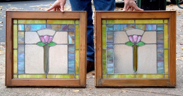 Price My Item Value Of Antique Pair Tulip Stained Glass