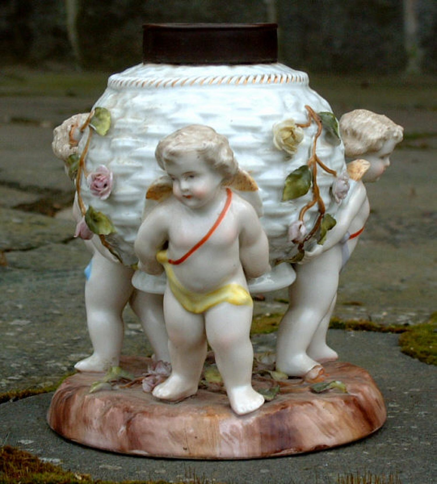 Antique Porcelain Cherub Lamp Base