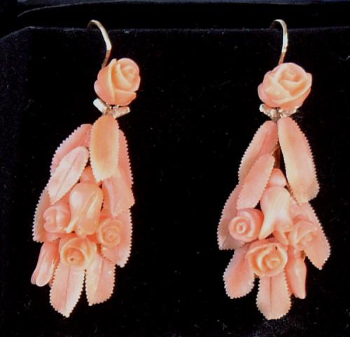 Victorian hand carved gold Coral Earrings
