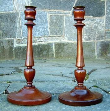 Image of Pair Art Deco Mahogany Candle Sticks
