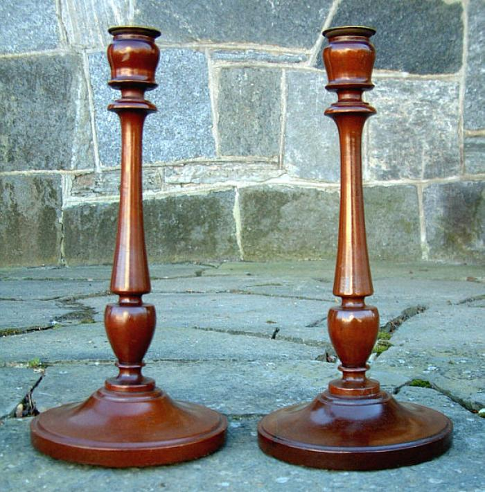 Pair Art Deco Mahogany Candle Sticks
