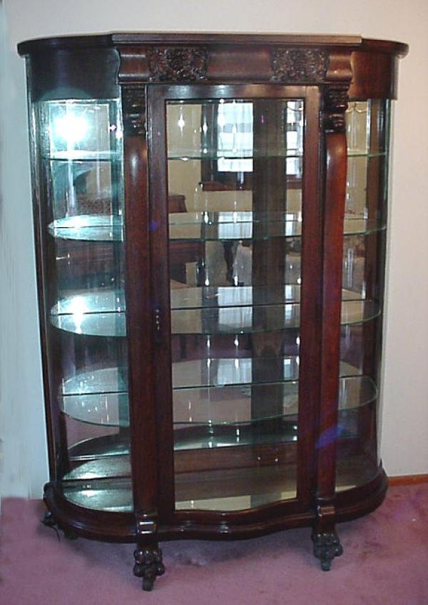 Price My Item Value Of Antique Oak Curved Glass China