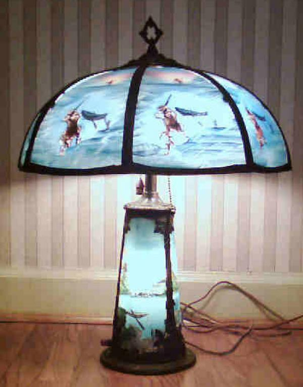 price my item value of antique reverse painted lamp and base. Black Bedroom Furniture Sets. Home Design Ideas