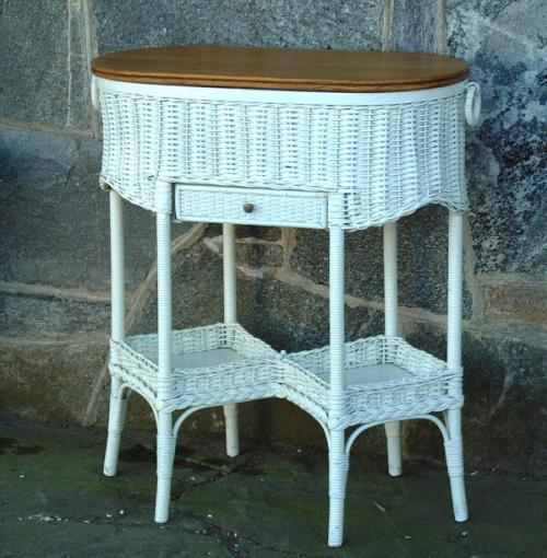 Antique Victorian wicker sewing cabinet with oak top