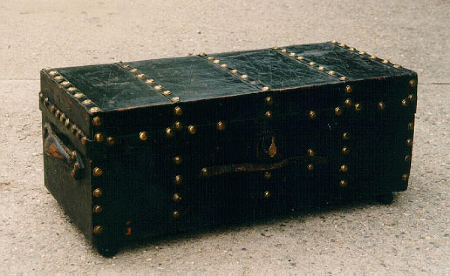 American antique leather travel trunk