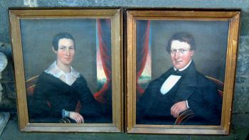 Image of Pair of Antique Portraits Horace Bundy oil on canvas