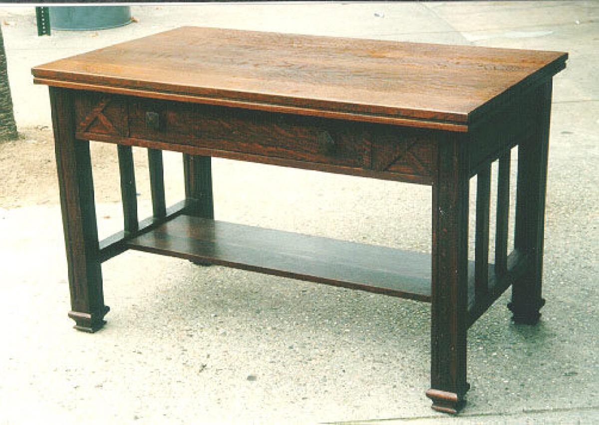 Antique Arts Crafts Tiger Oak Mission Desk Library Drafting Table