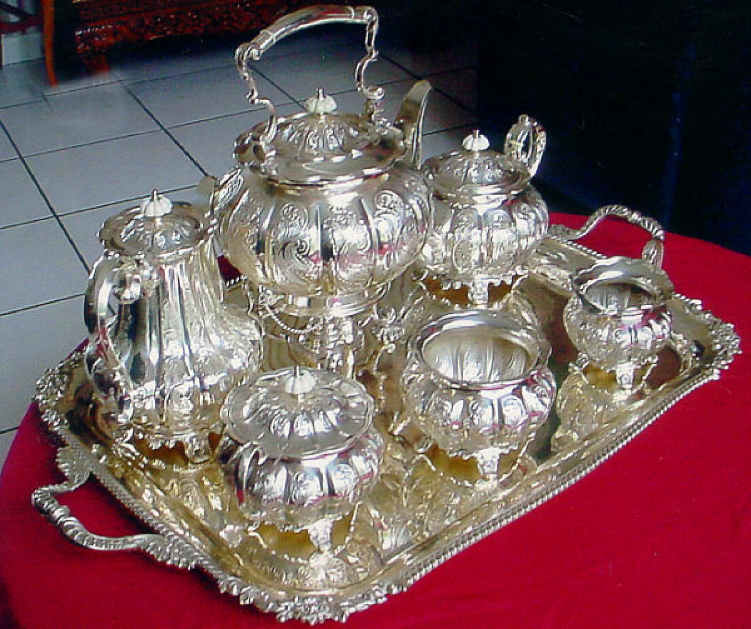 Sheffield silver plated tea service with tray