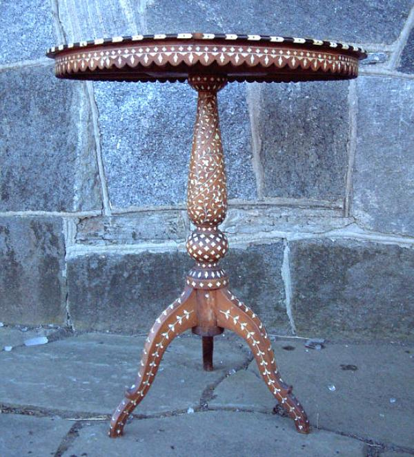 Antique Syrian Inlaid Wood Table