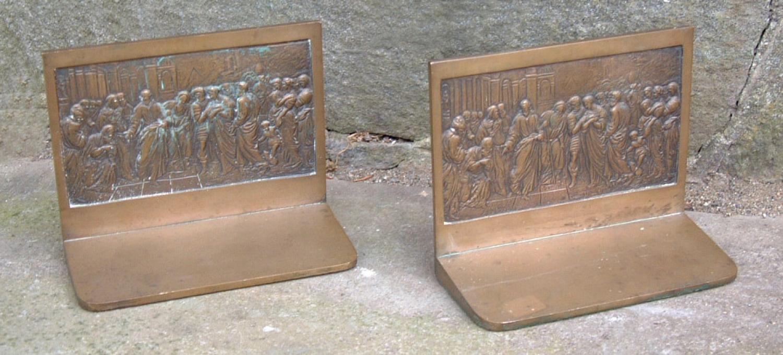 Antique Heavy Cast Bronze Bookends