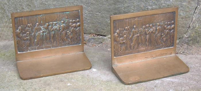 Antique Heavy Cast Bronze Bookends