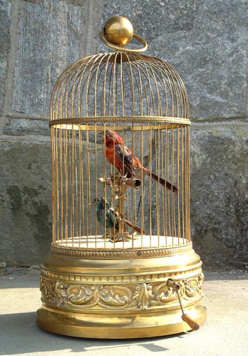 Antique French Brass Bird Cage Music Box
