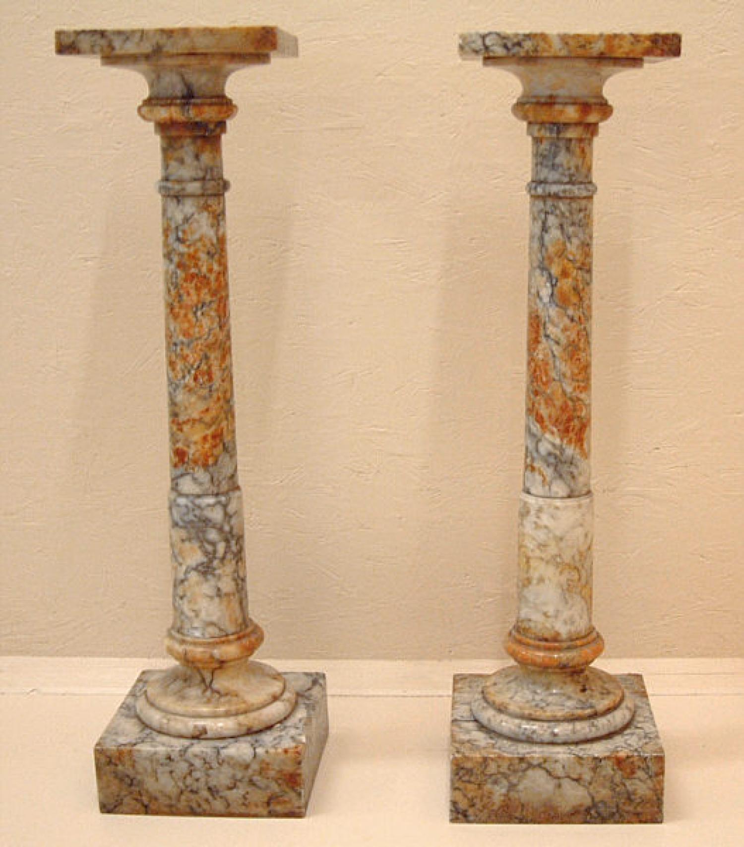 Antique pr of alabaster plant pedestals c1880