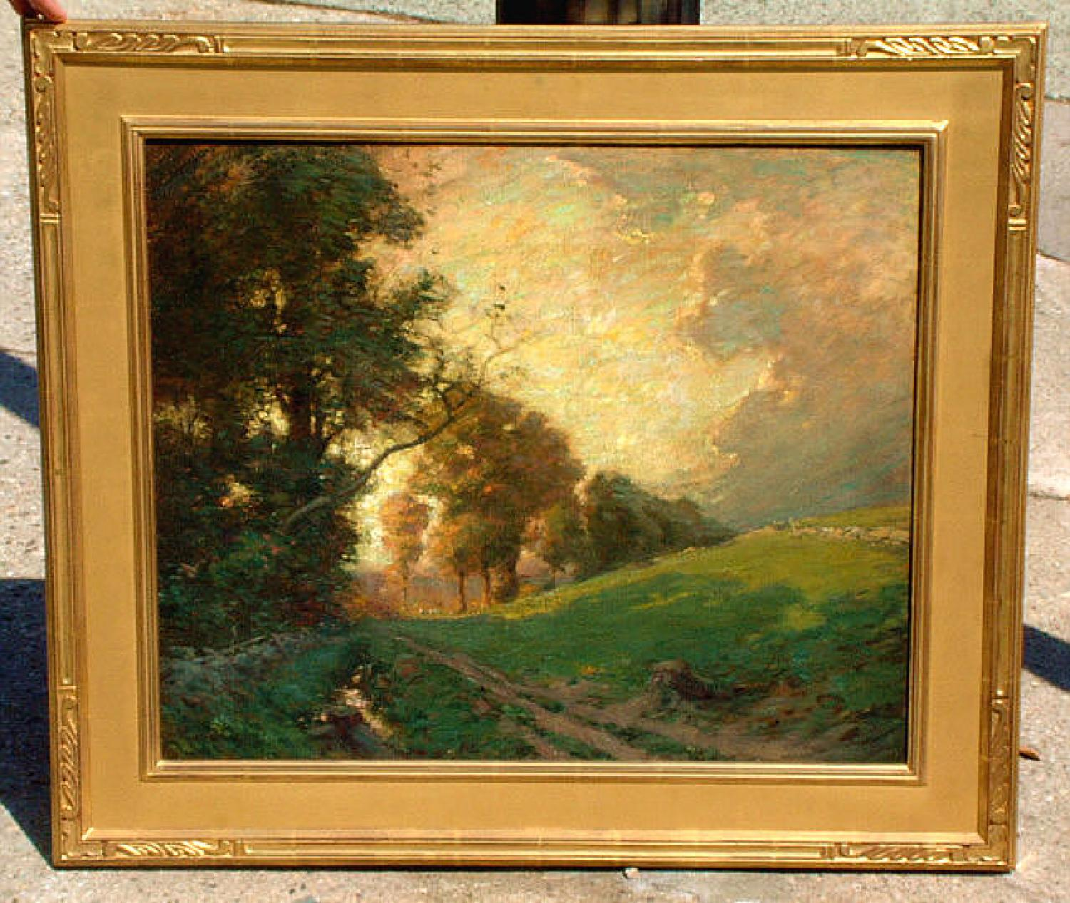 Frank A Bicknell oil on canvas Stamford CT landscape