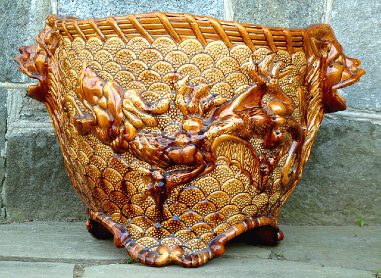 Antique European Majolica Pottery Tree Planter or Pot