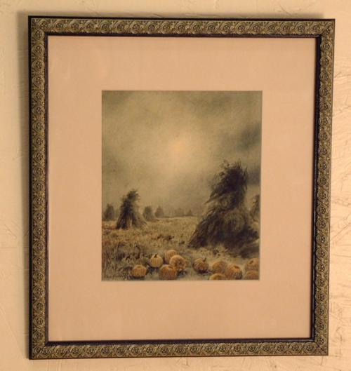 Antique Watercolor by Charles Russel Loomis of Pumpkin patch