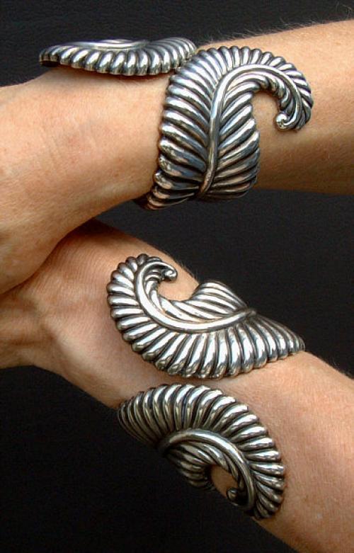 Los Castillos Taxco Mexico Sterling Silver Cuff Bracelets