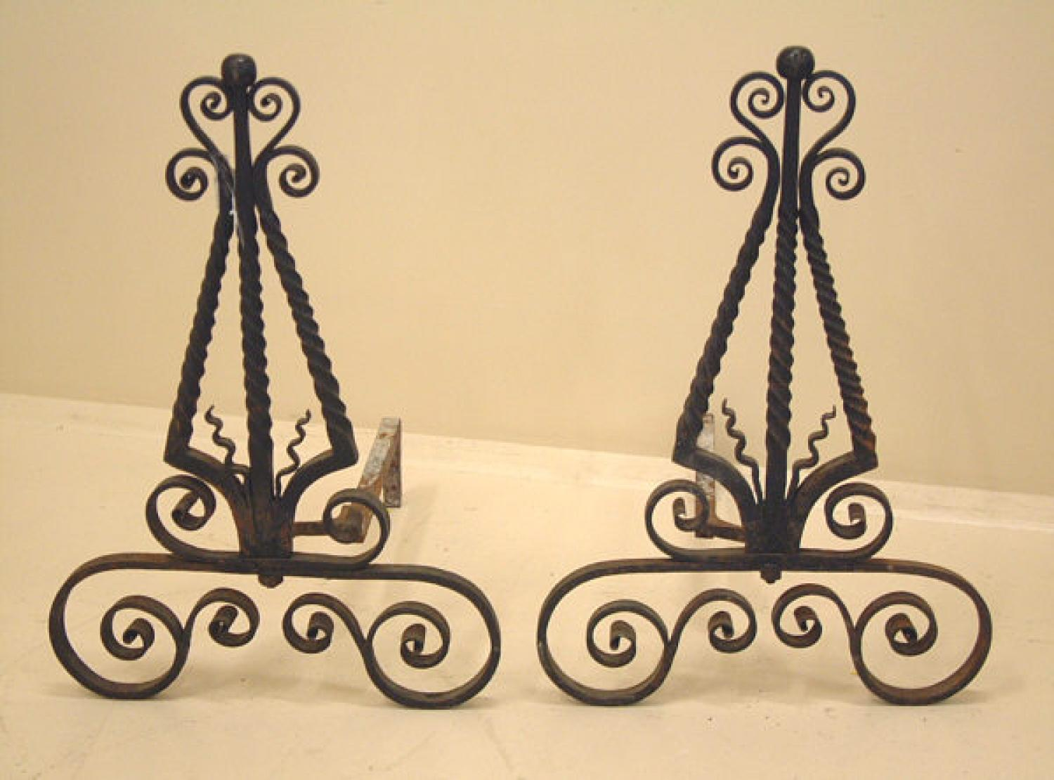 Hand wrought iron Arts and Crafts Andirons