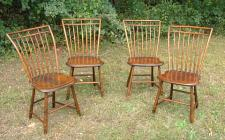 Set four Antique American Rod Back Windsor Chairs c1800