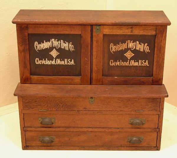 Antique Cleveland Twist Drill Co Cabinet