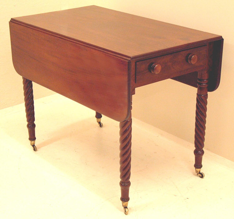 Antique American Sheraton drop leaf pembroke table