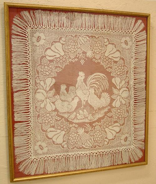 Antique table top lace table cover of Roosters