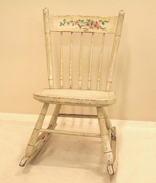 Antique American Country Plank Seat Childs Rocking Chair
