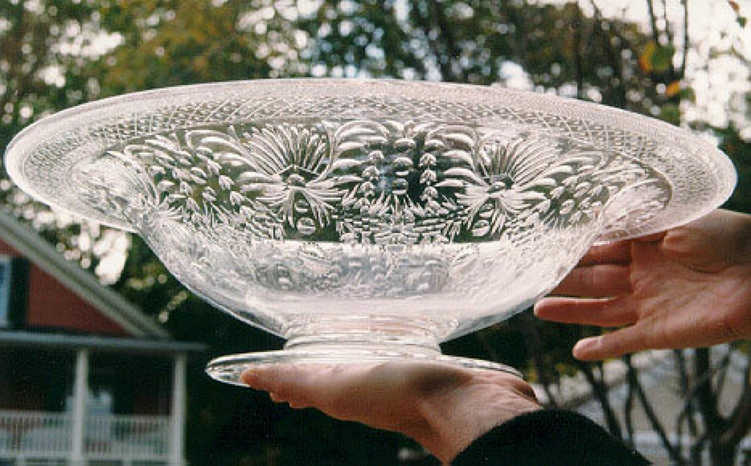 Antique blown and etched glass pairpoint bowl