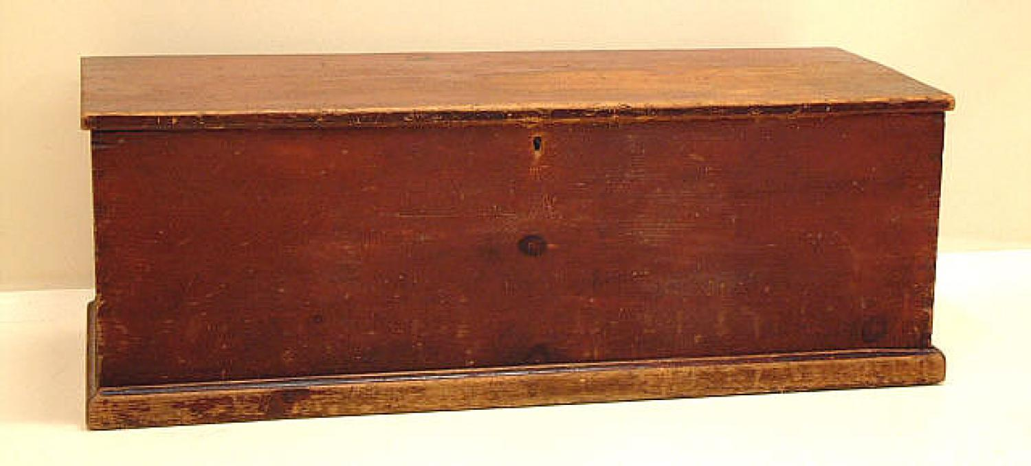 Antique Six Board Blanket Chest with Original Red Paint