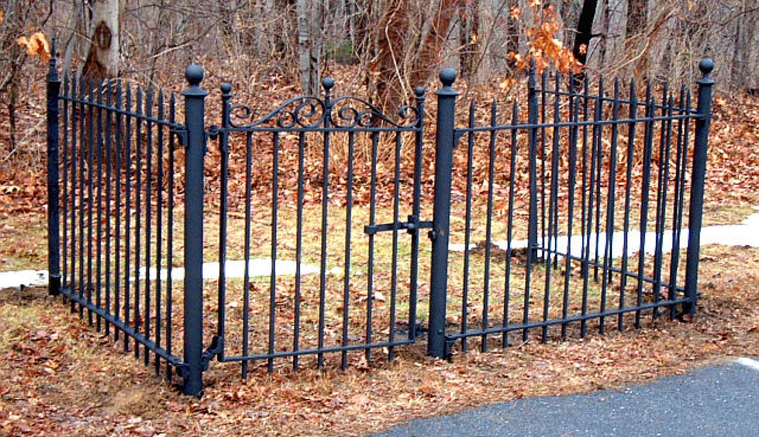 Antique wrought iron fence and gate c