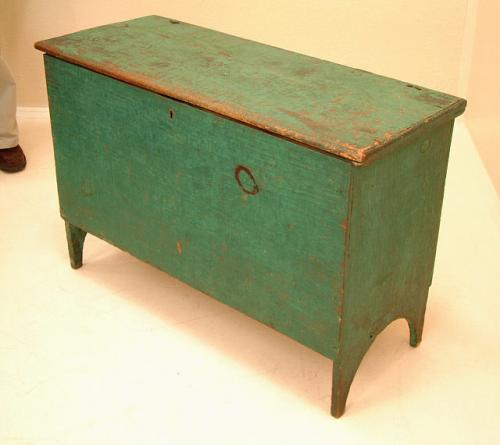 Turquoise Green six board chest c1750