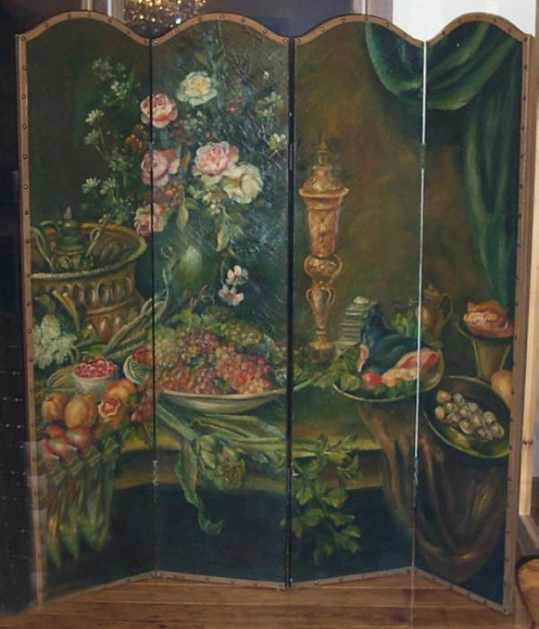 Antique Hand Painted Leather Room Divider