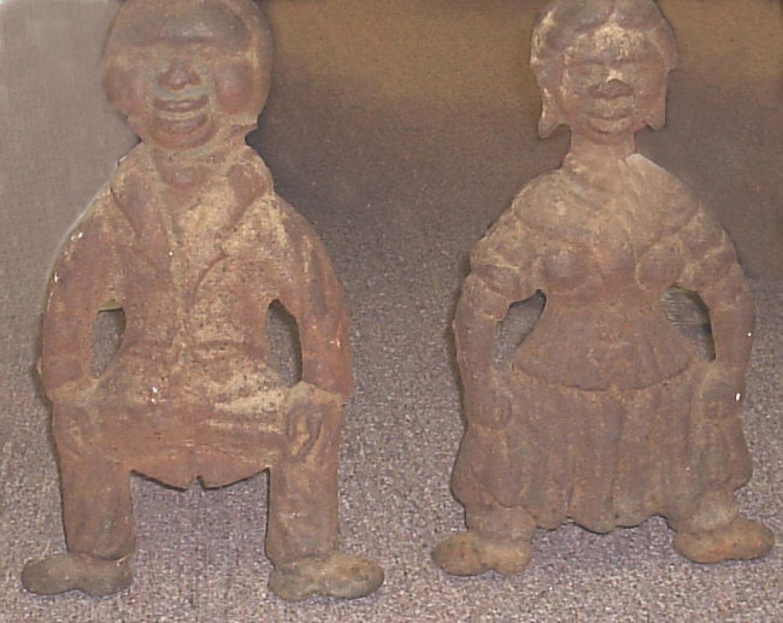 Antique pair of Black folk art andirons