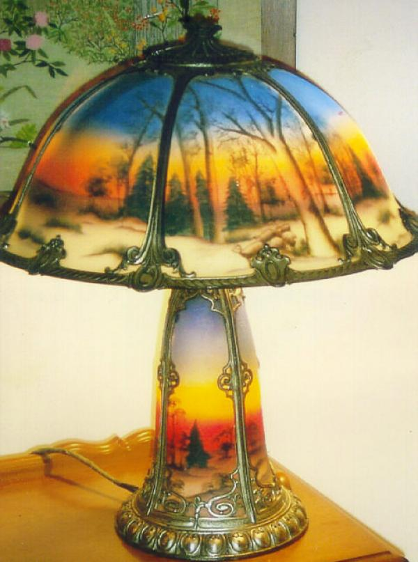 Price my item value of phoenix glass reverse painted for Lamp shade painting ideas